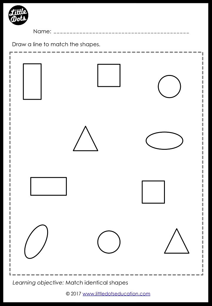 Basic shapes matching worksheet for preschool, pre-k or kindergarten class. Practice to match circle, square, triangle, rectangle and oval.