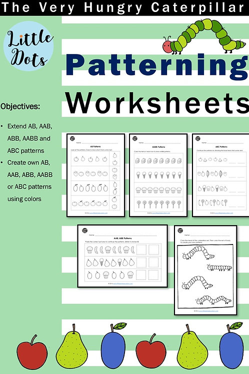 The Very Hungry Caterpillar Patterning Worksheets
