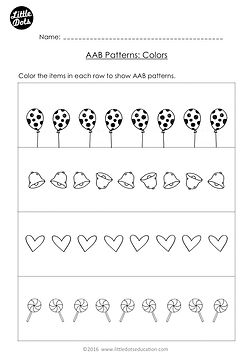 Free AAB Pattern Worksheet for Kindergarten Level. Create your own AAB patterns using colors.