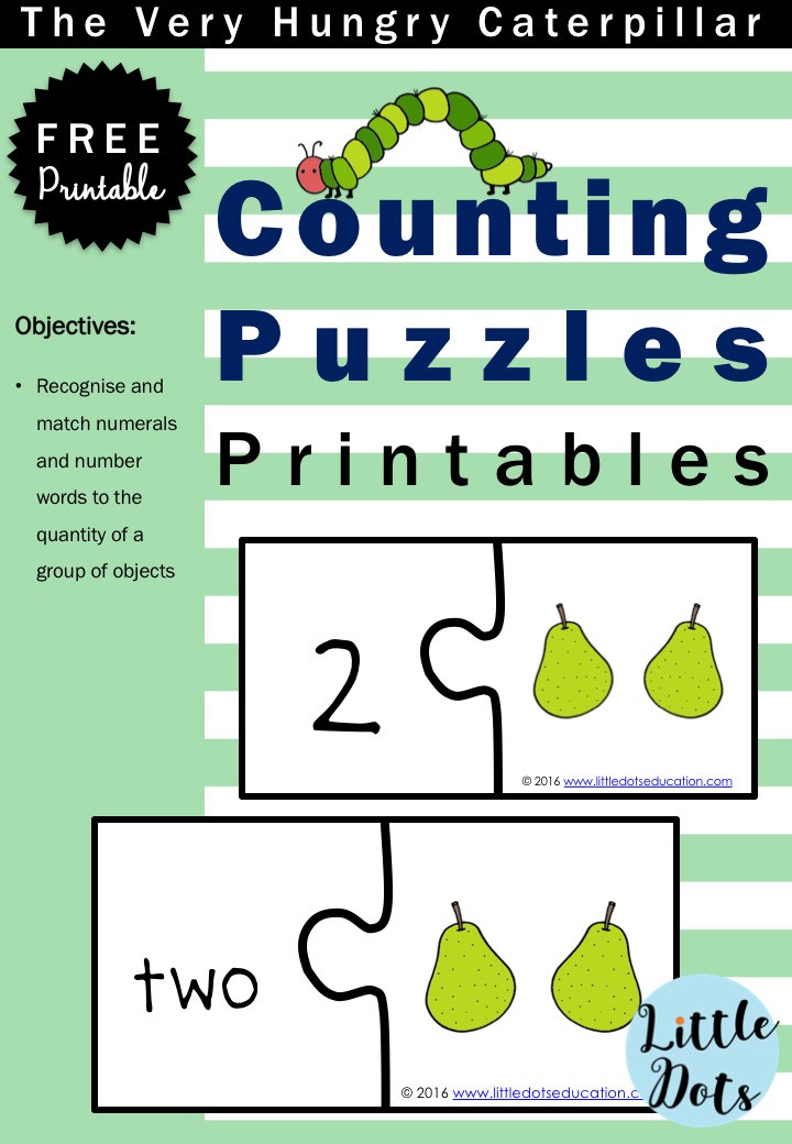 The Very Hungry Caterpillar free counting puzzles printable for preschool, pre-k or kindergarten class