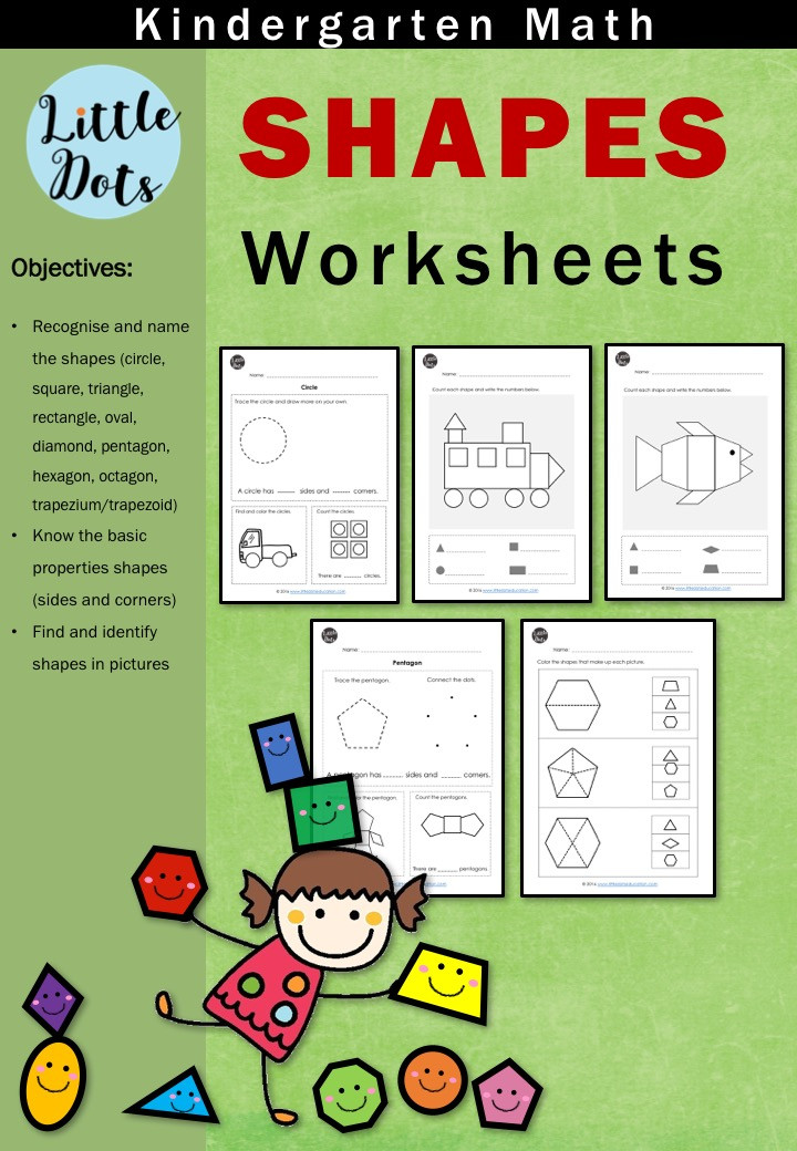 Kindergarten Math Shapes Worksheets Bundle Set