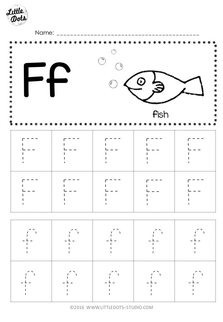 Free letter f tracing activity