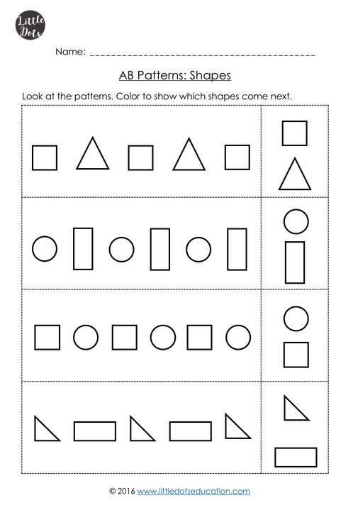 pre k ab patterns worksheets little dots education preschool printables and activities. Black Bedroom Furniture Sets. Home Design Ideas