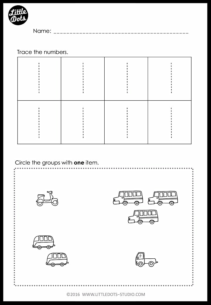 Number 1 tracing and counting worksheet for pre-k