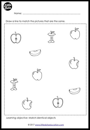 Preschool Fruits Theme Matching Worksheets and Activities | Little ...