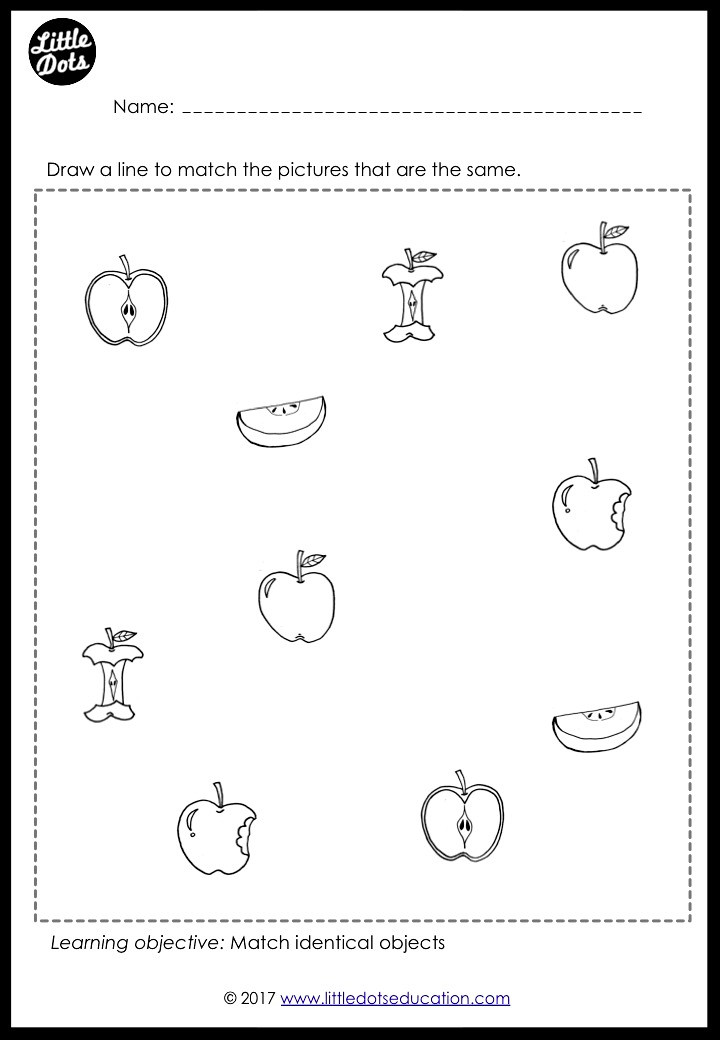 Apple fruit matching worksheet for math activity for preschool, pre-k or kindergarten class.