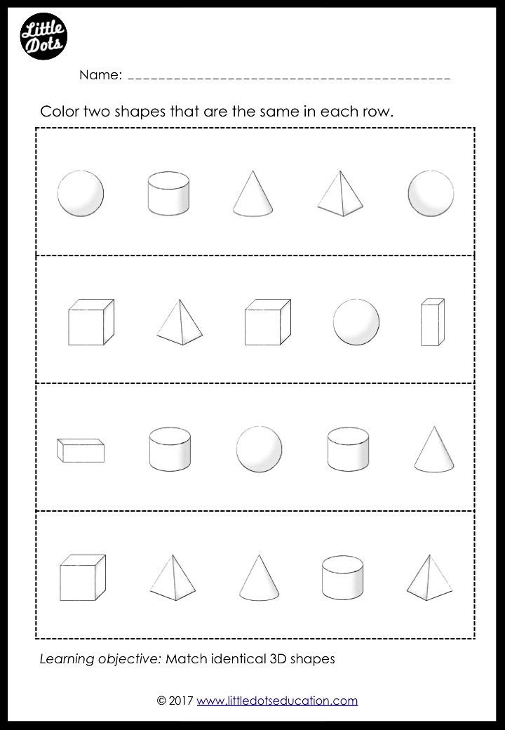 3D shapes or solid shapes worksheet