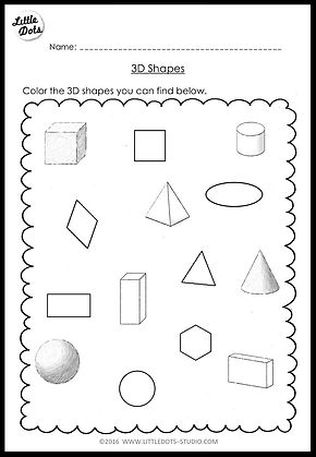 kindergarten math 3d shapes worksheets and activities. Black Bedroom Furniture Sets. Home Design Ideas