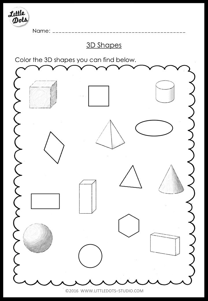 Geometric 3D Shapes free educational coloring pages online | 1040x720