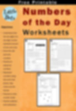 Free numbers of the day worksheets for K to 2