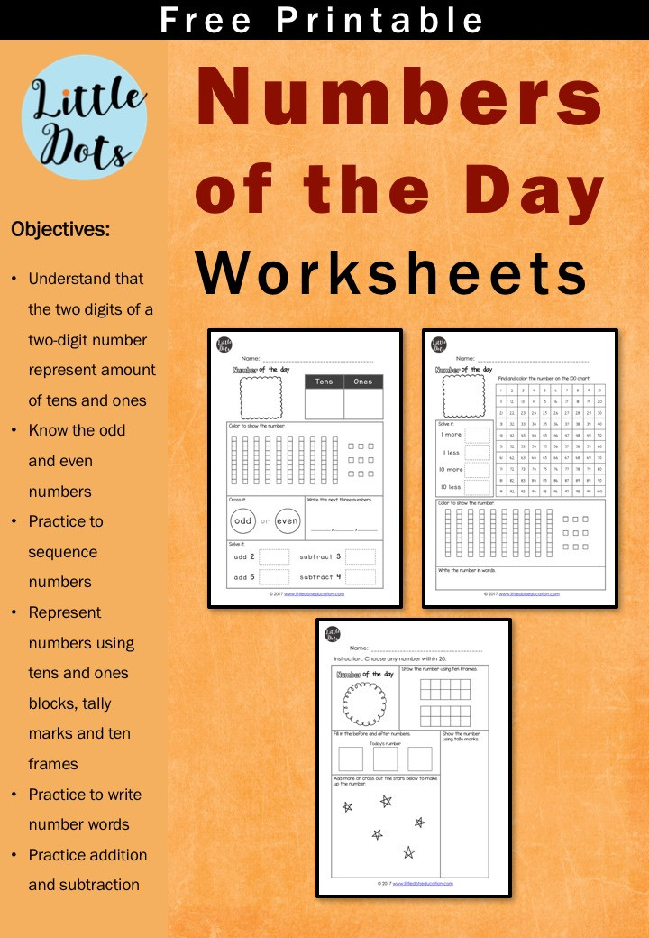 Number of the day worksheets for k-2