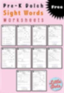 Free Dolch pre-primer sight words worksheets for pre-k and kindergarten