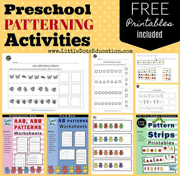 Patterning activities, worksheets and printables for preschool, pre-k and kindergarten