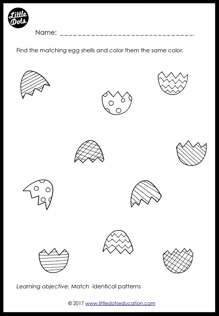 Easter eggs matching activity
