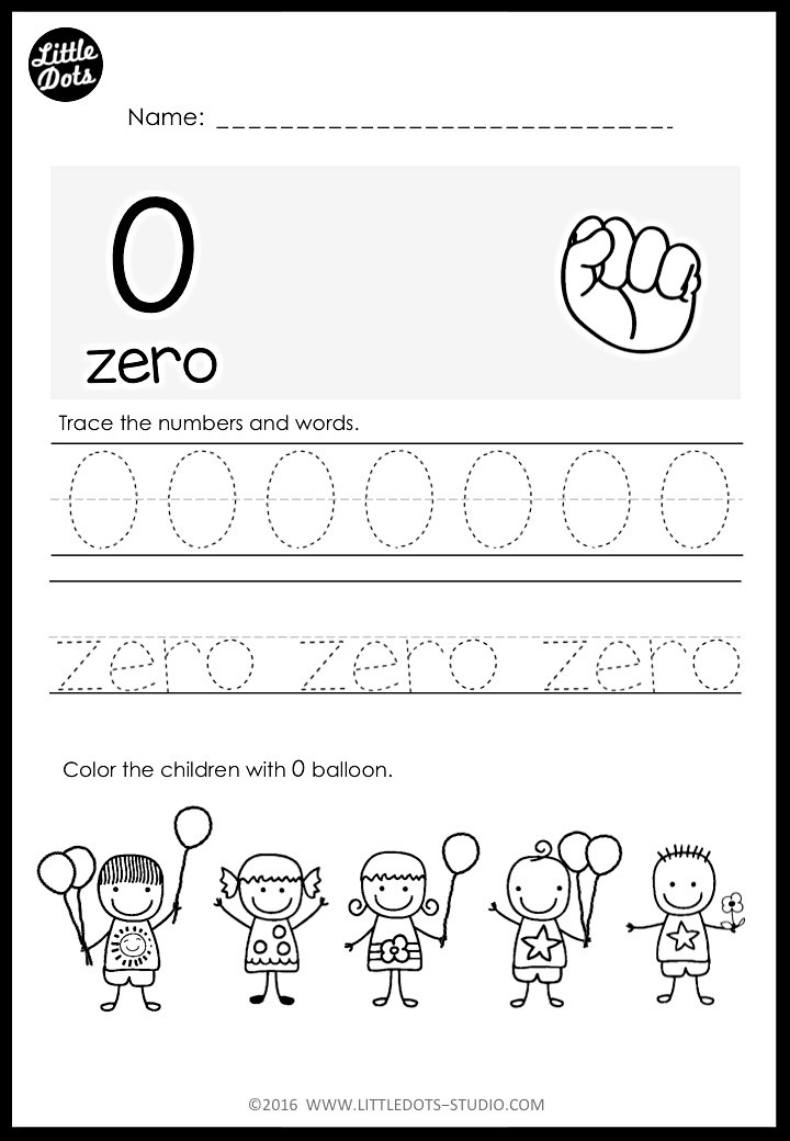 zero number worksheet for kindergarten