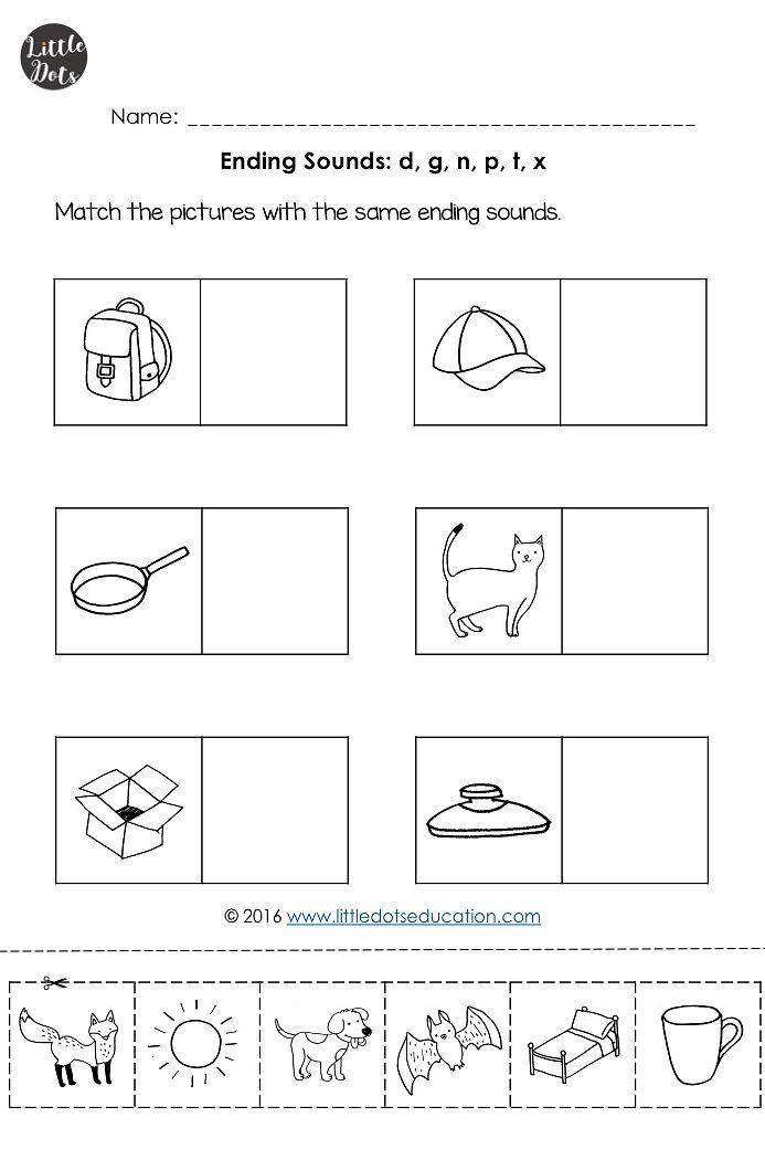 Little Dots Education – Ending Sounds Worksheets