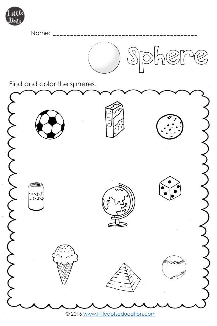 3d Solid Shapes Worksheets For Kindergarten