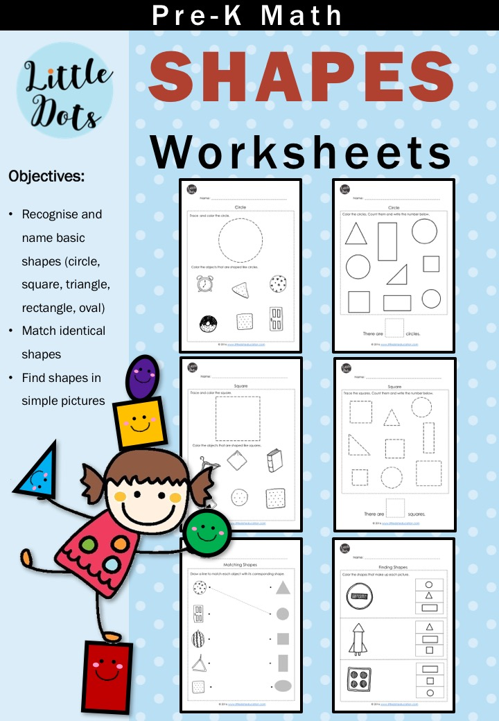 PreK Math Shapes Worksheets and Activities Little Dots