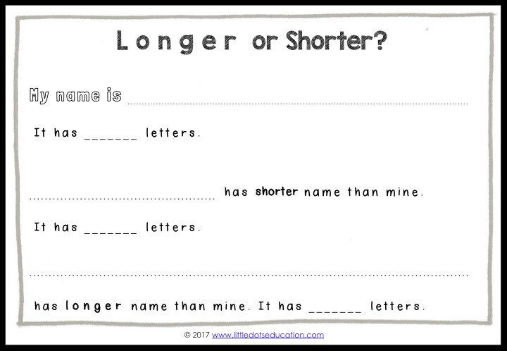 My Special Name: Longer or Shorter Printable