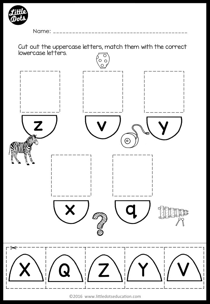 Uppercase and lowercase matching cut and paste activity