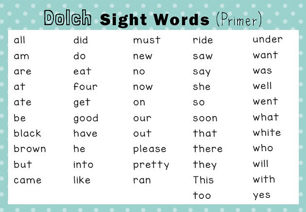 Dolch Sight Words Activities Primer / Kindergarten Level