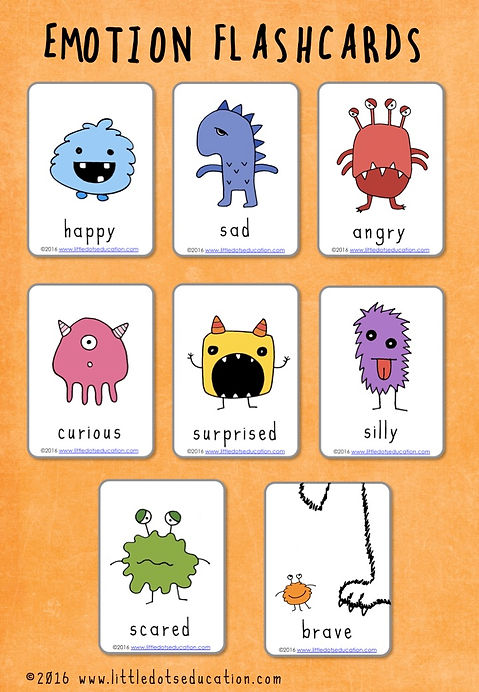image relating to Emotion Flashcards Printable named Experience Flashcards (Monster Version)