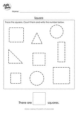Free Pre-K square shape worksheet. Learn to recognise and count the square shapes.