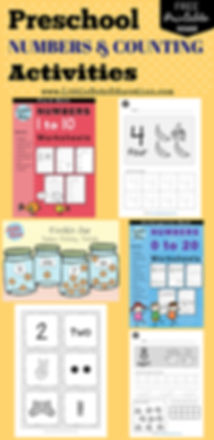 Preschool numbers and counting worksheets, activities and printables