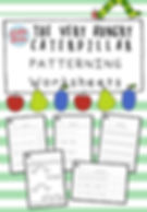 The Very Hungry Caterpillar theme patterning worksheets for preschool on AB, AAB, ABB, AABB and ABC patterns.