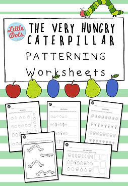 The Very Hungry Caterpillar Theme Patterning Worksheets Set. Practice to create and continue AB, AAB, ABB, AABB and ABC patterns.
