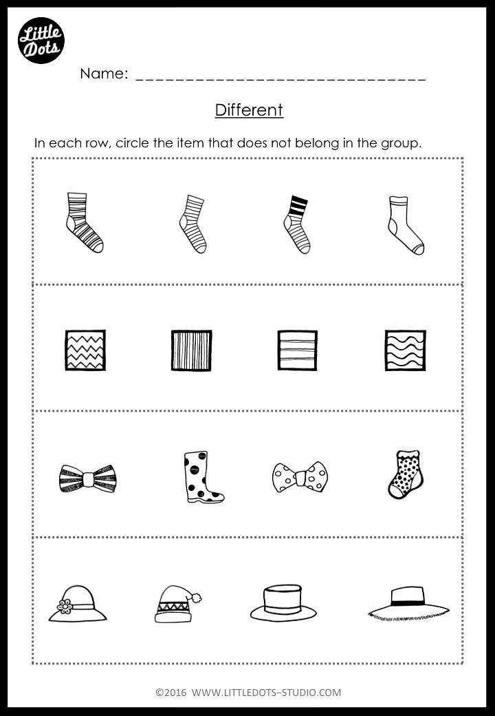 same and different worksheet for kindergarten