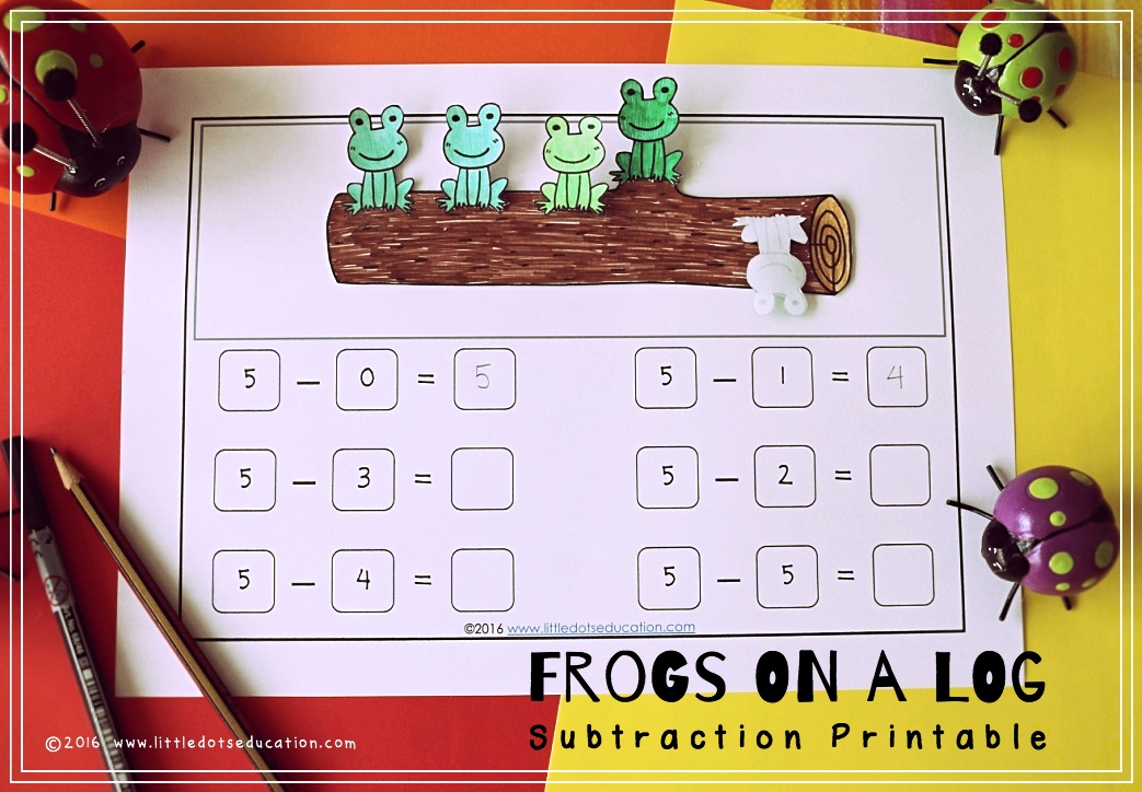 free frogs on a log subtraction printable