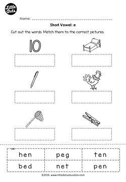 Free short vowel e worksheet for preschool or kindergarten class