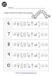Download free The Very Hungry Caterpillar counting one-to-one correspondence within 10 worksheet. Color the items to match the numbers worksheet.