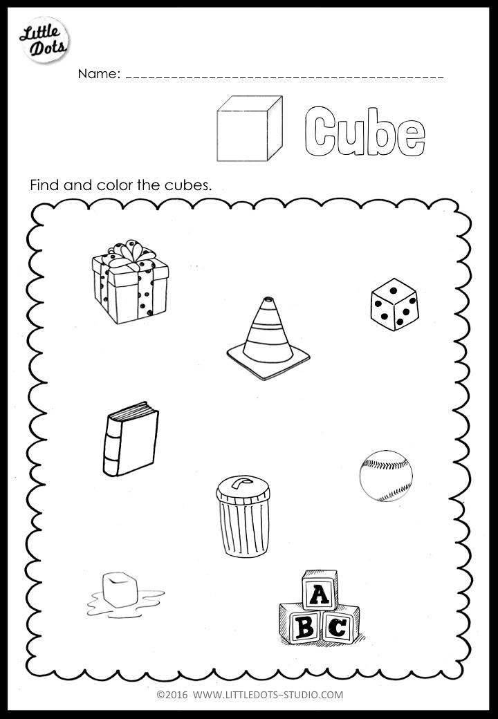 Kindergarten cube worksheet