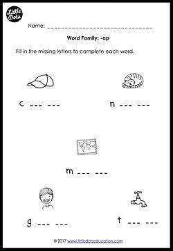 Free word family -ap worksheet for kindergarten class