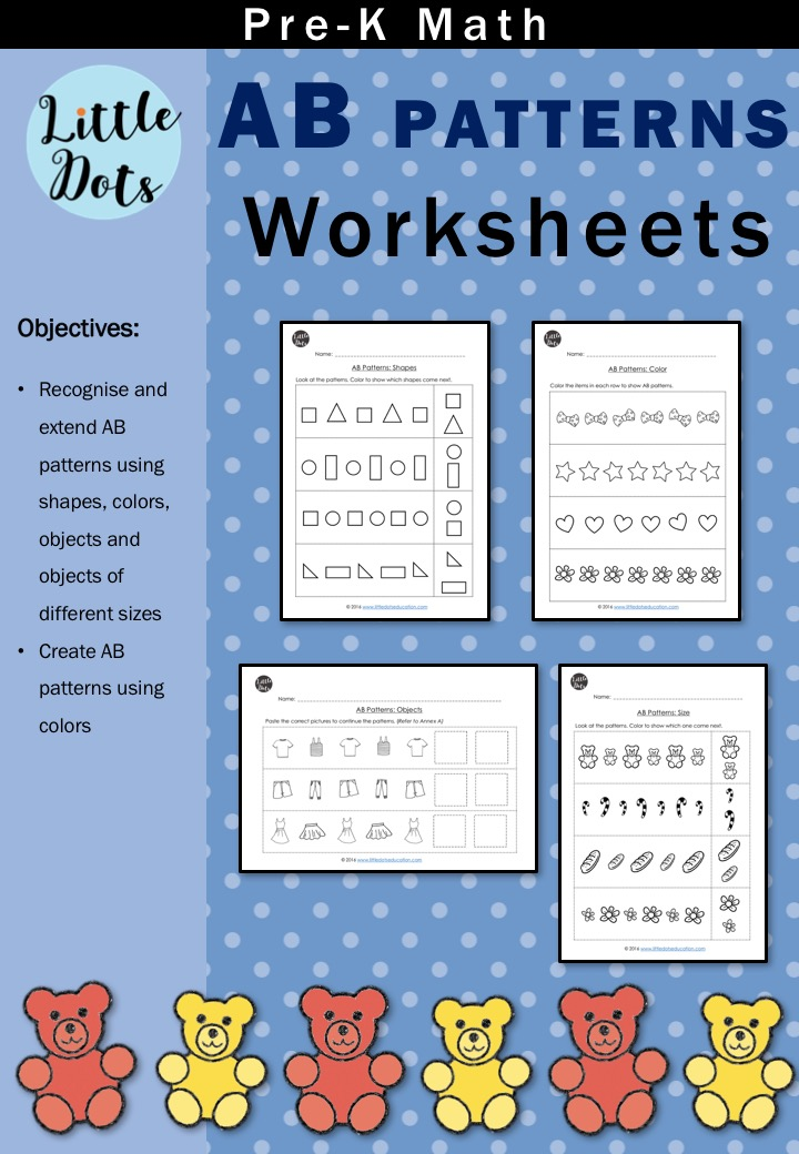 pre k math ab patterns worksheets and activities little dots education preschool printables. Black Bedroom Furniture Sets. Home Design Ideas