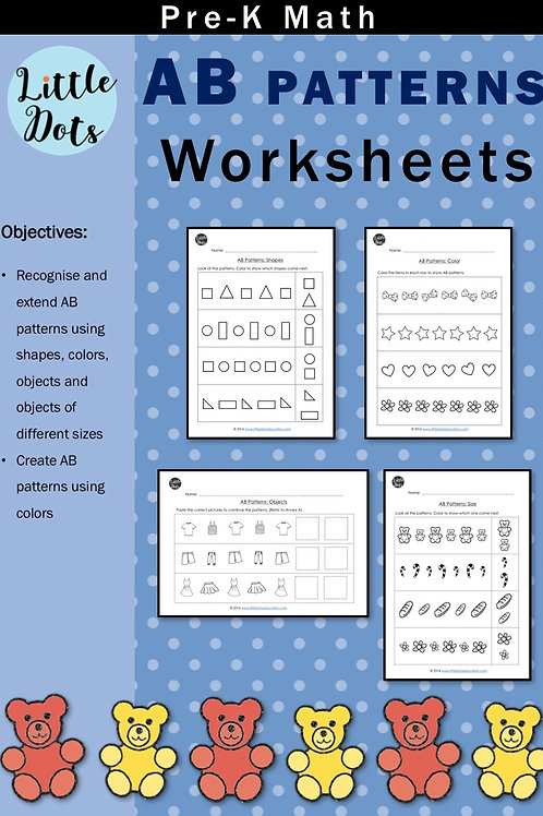 Pre-K AB Patterns Worksheets