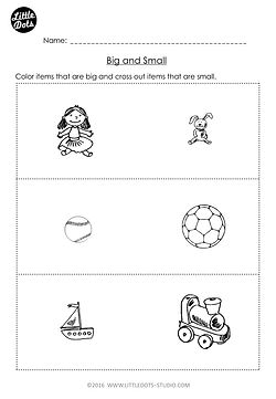 Free Pre-K measurement worksheet on big and small.