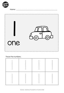 Free Number 1 Worksheet for pre-k level. Practice to trace number 1 with this worksheet.