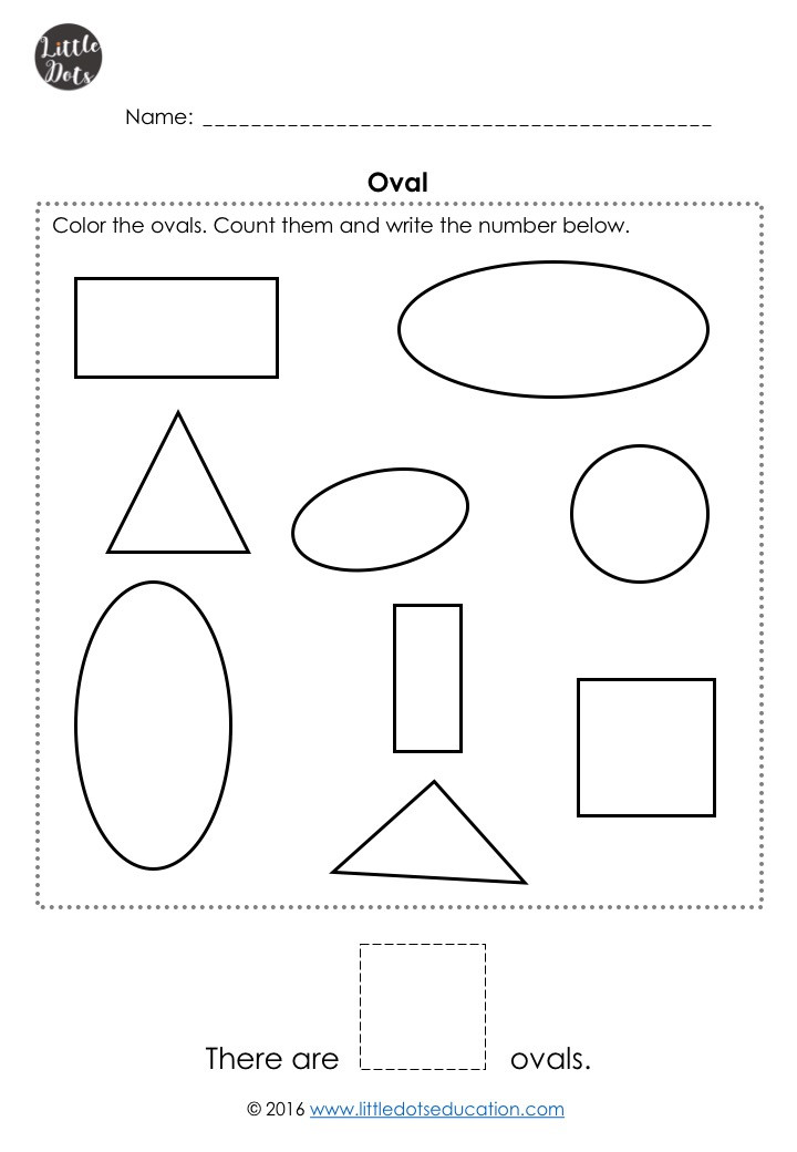 Free oval shape worksheet for pre-k
