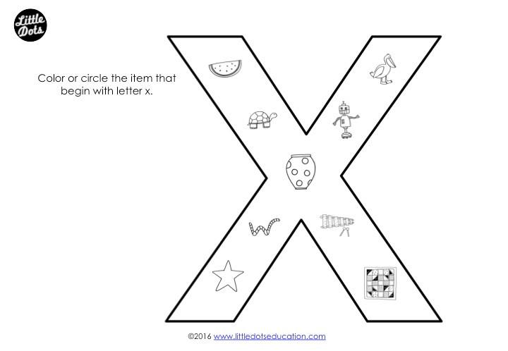 Letter X Sound Worksheet