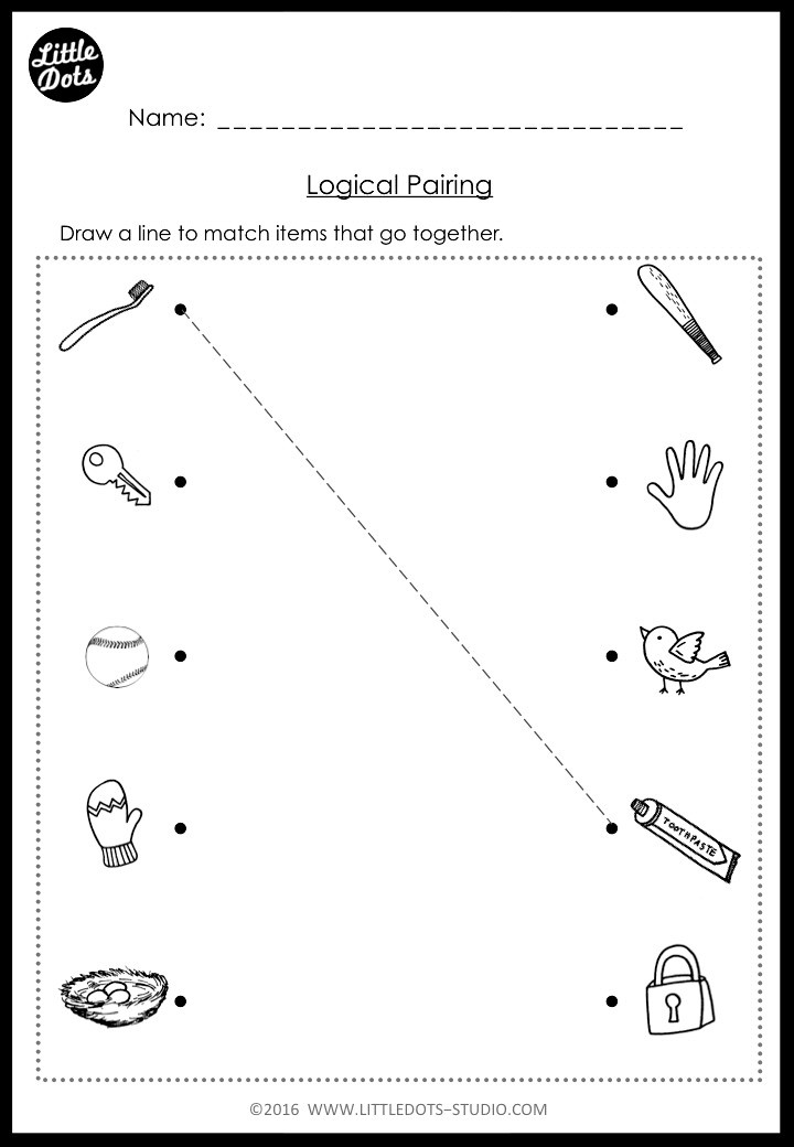 logical pairing worksheet for kindergarten