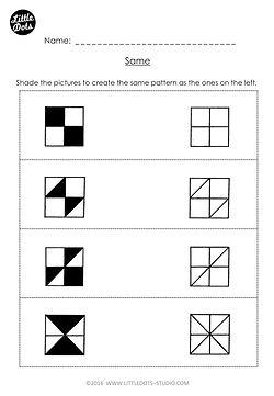 Free same and different worksheet for Kindergarten