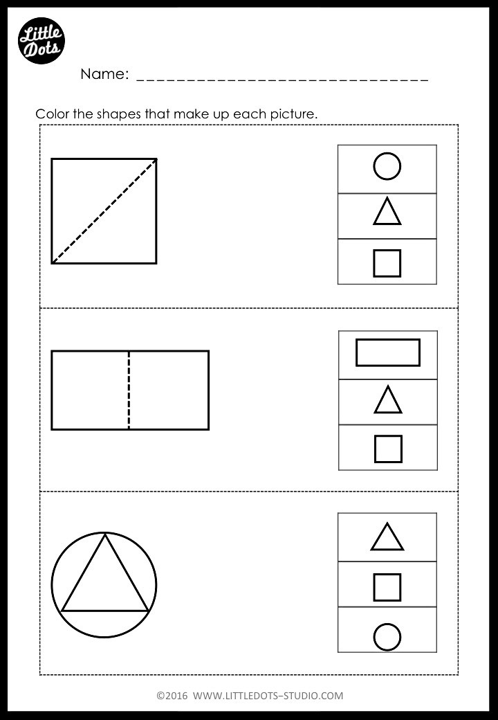 shapes worksheet for kindergarten