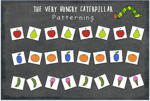 Free The Very Hungry Caterpillar food printable for creating patterns.