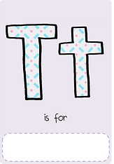 Make your own letter t book with this letter t book cover template.