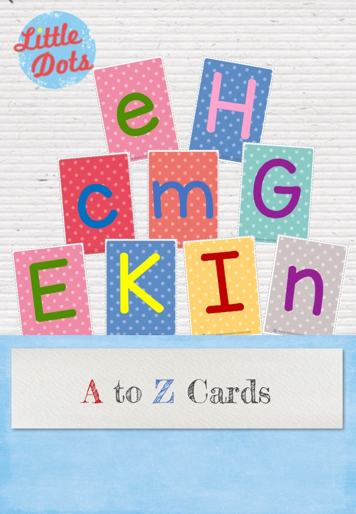 Alphabet cards with polkadot background