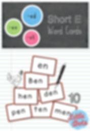 Free short e word family cards printable for -ed, -en and -et.