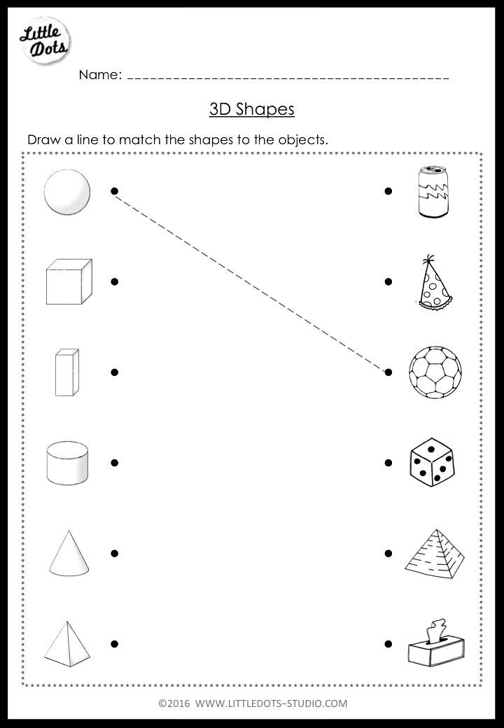 Matching solid shapes worksheet for kindergarten